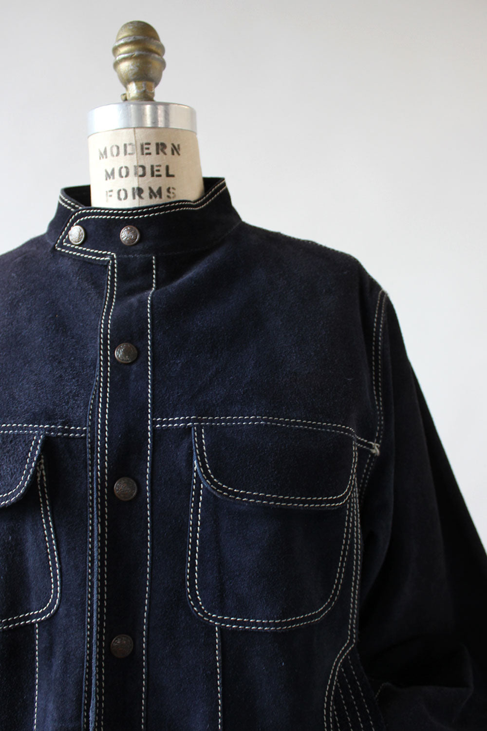 Navy Suede Slouch Jacket M