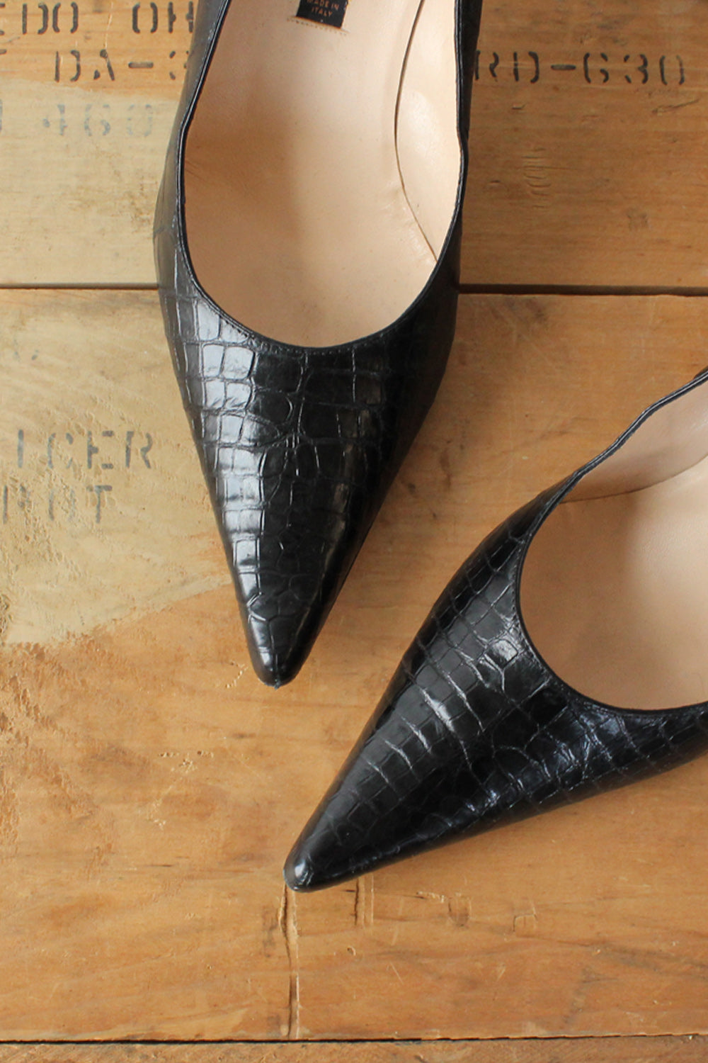 Giorgio's Pointed Croc Heels 7.5