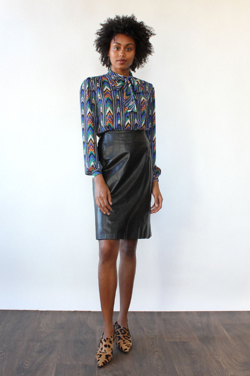 Papery Black Leather Button Skirt