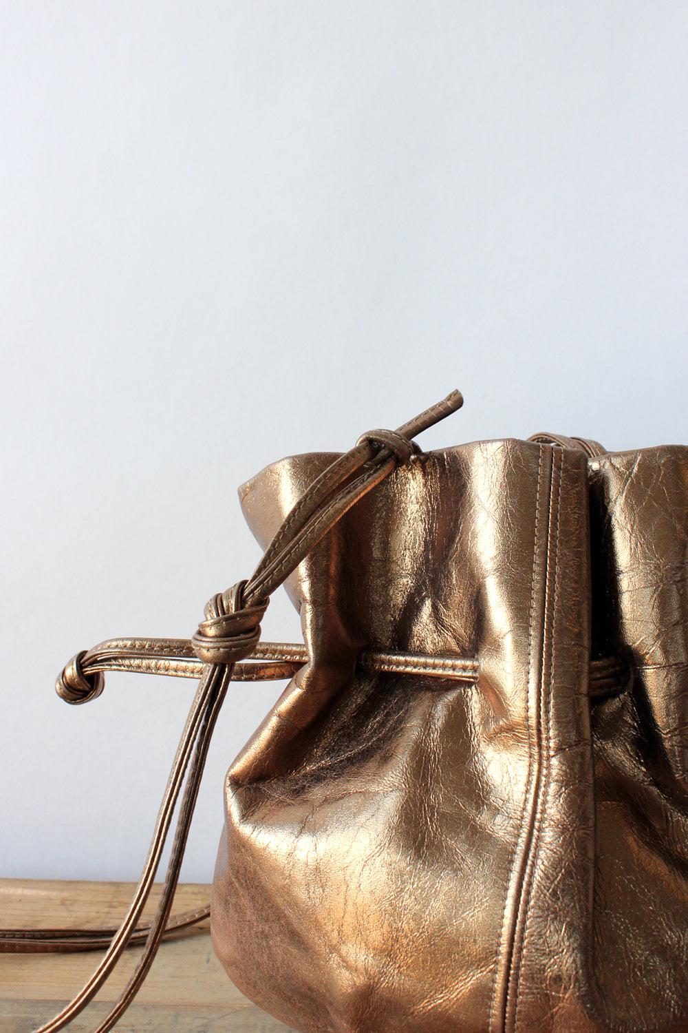 Bronzed Leather Bucket Purse