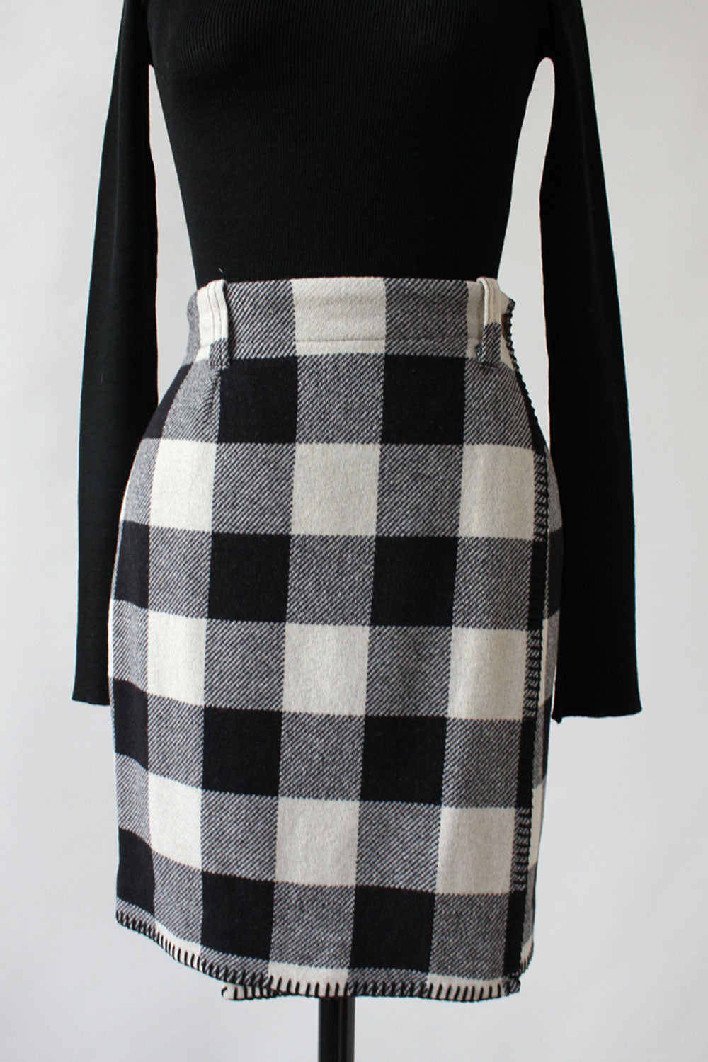 Monochrome Plaid Blanket Mini S