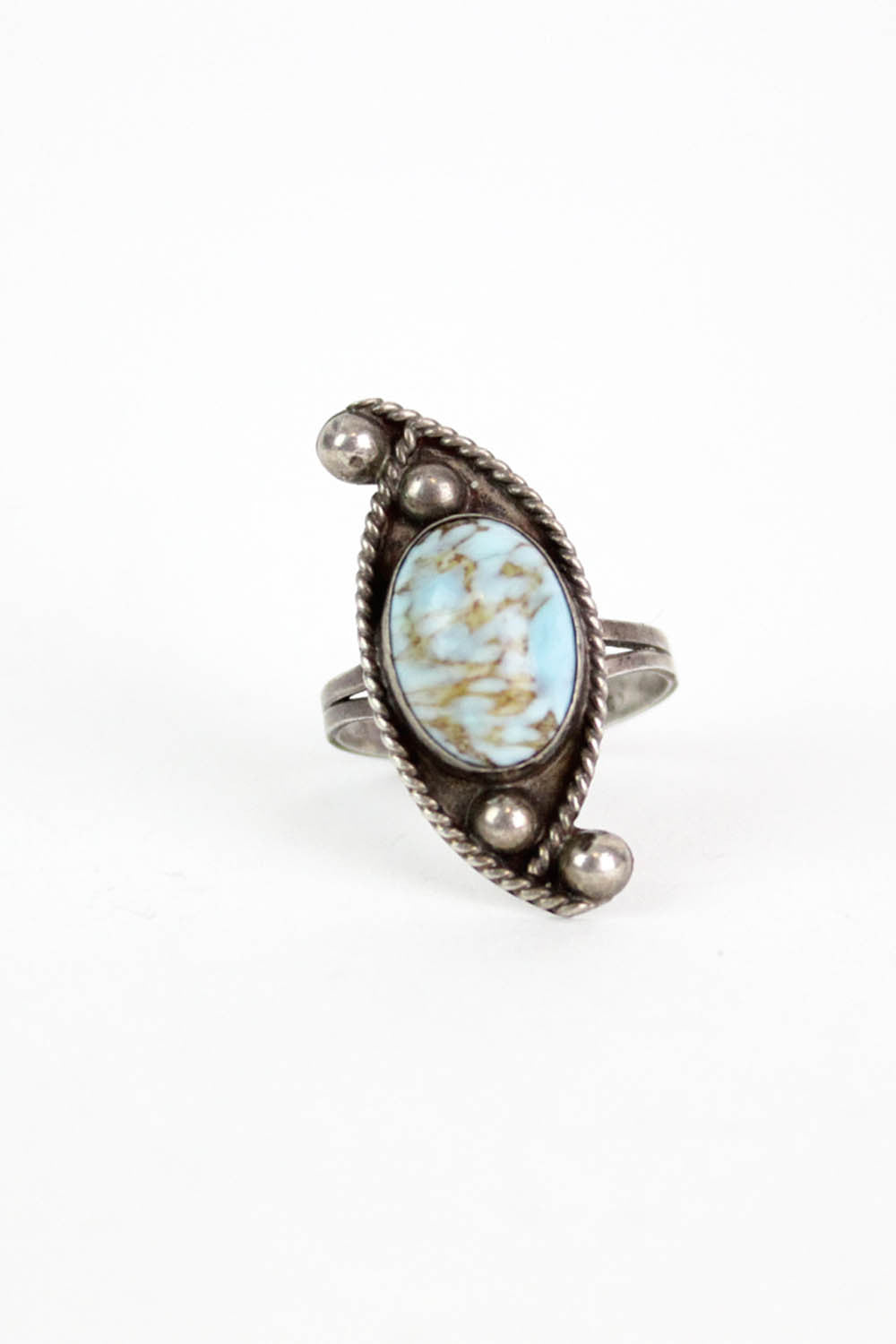 Wavy Sterling Turquoise Ring
