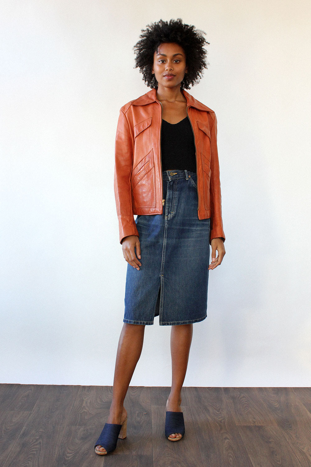 Burnt Orange Leather Jacket M