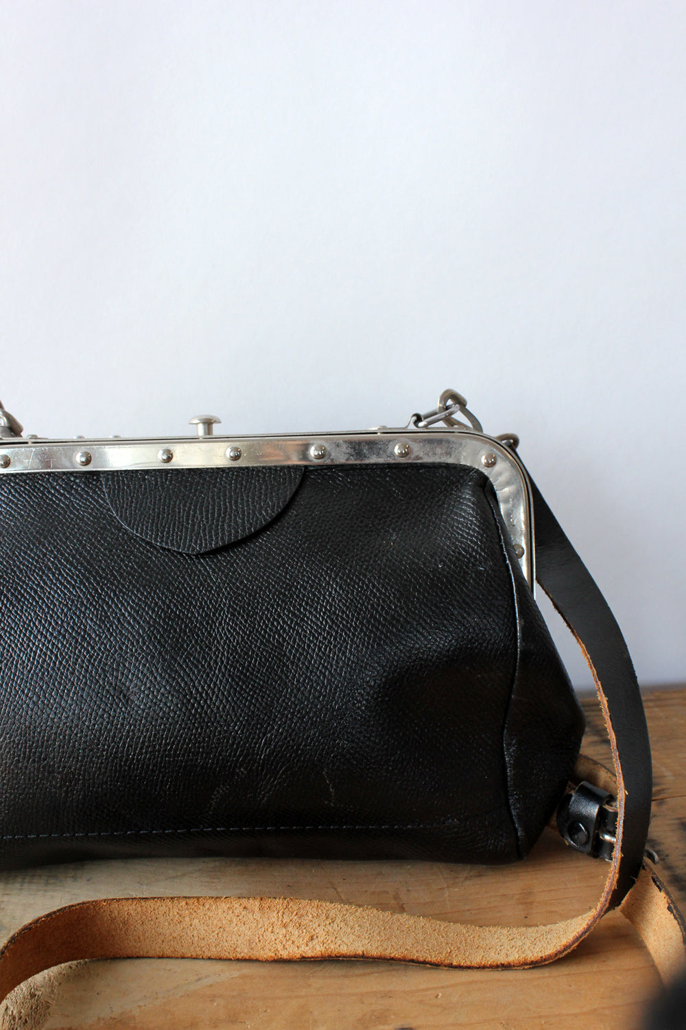 Riveted Frame Leather Bag