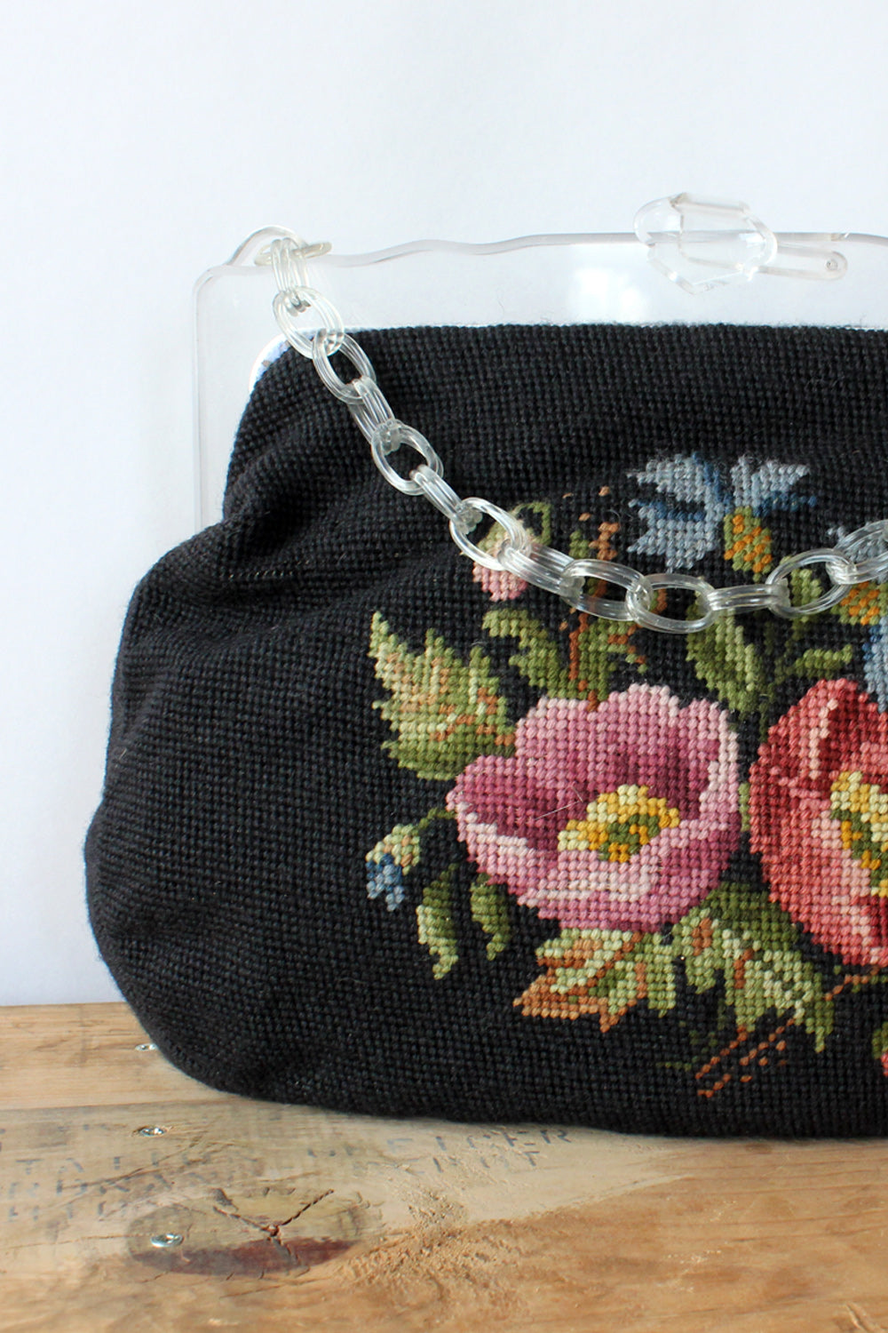 Oversized Needlepoint Lucite Frame Purse