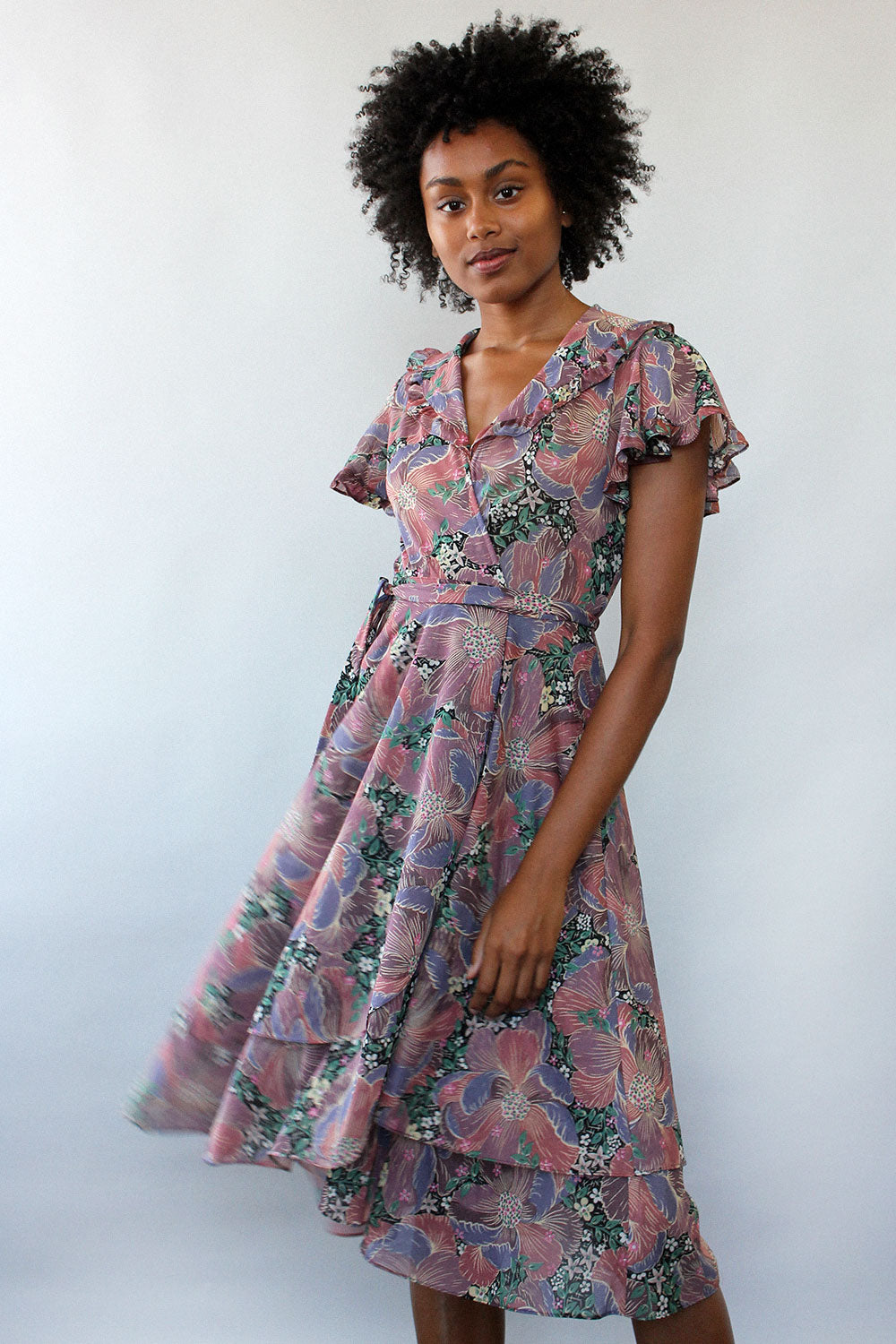 Plum Floral Wrap Dress XS/S