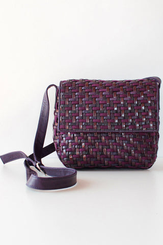 Desmo Violet Weave Leather Crossbody