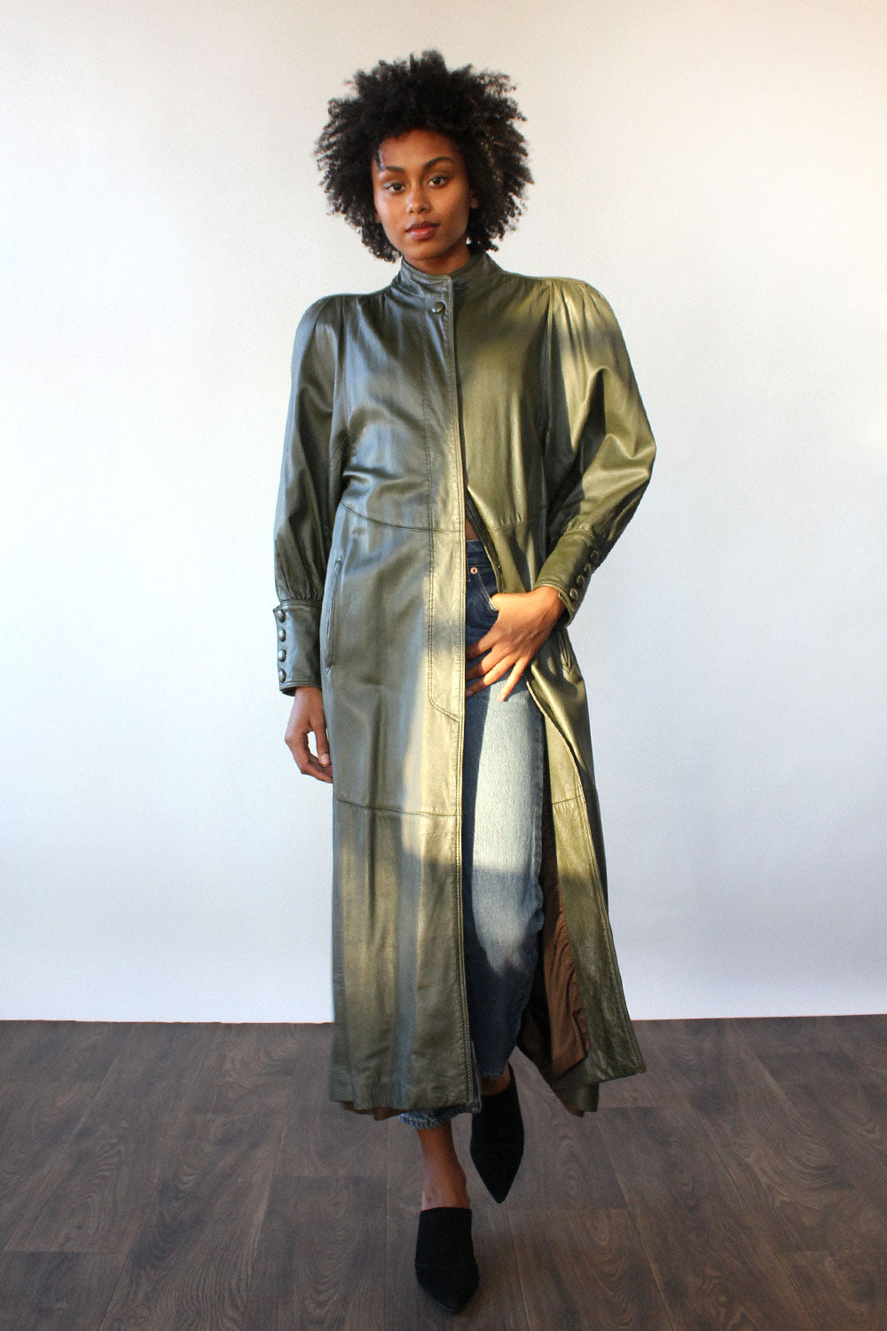 Evan Arpelli Ivy Leather Drama Coat M