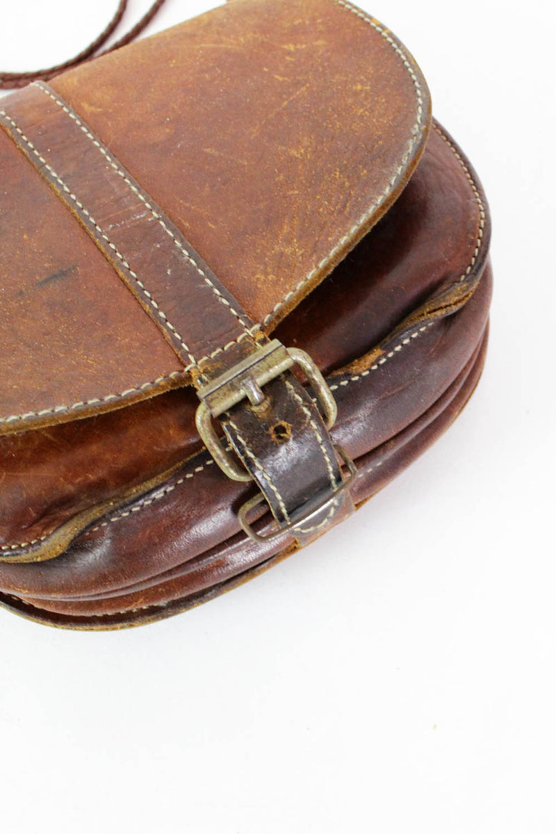 Distressed Leather Crossbody Saddle Bag