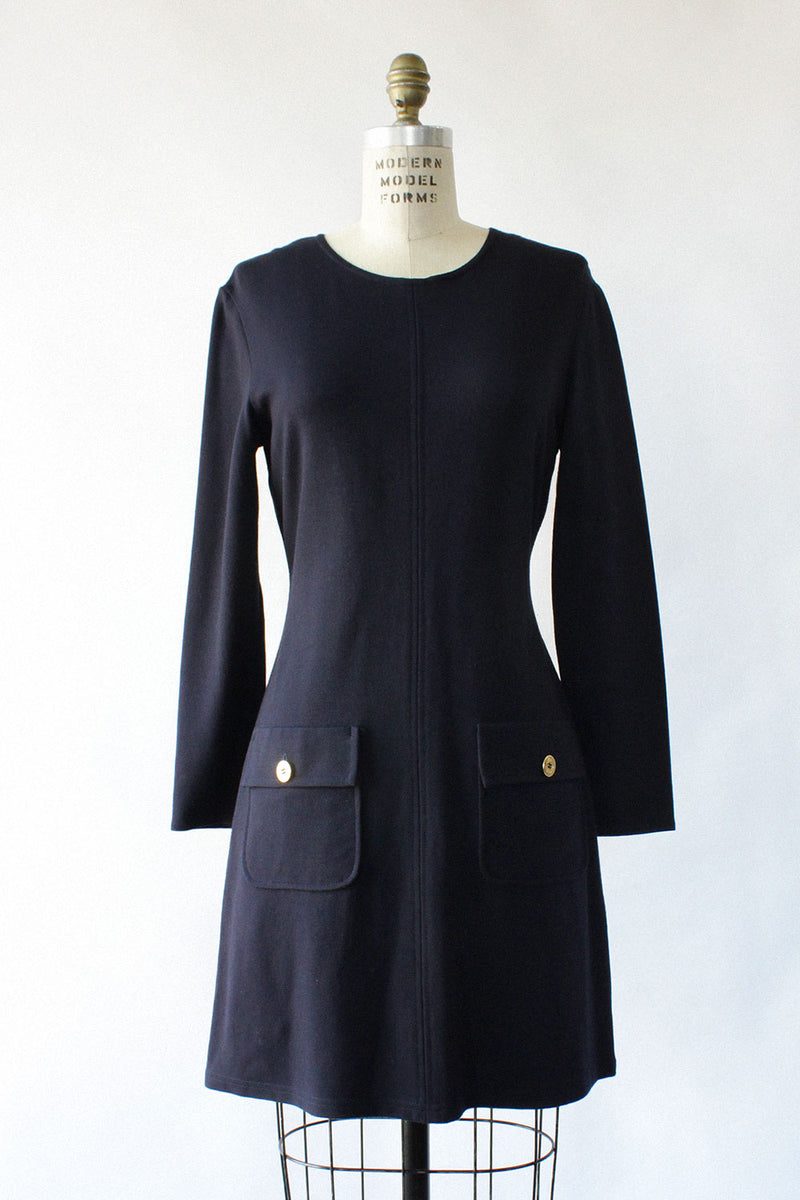 Navy Knit Pocket Dress S/M