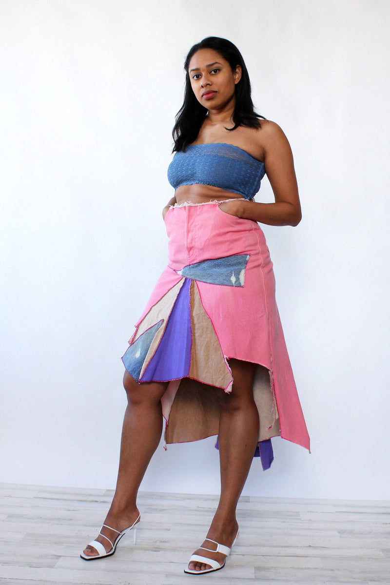 Chanel Upcycled Denim Burst Skirt M/L