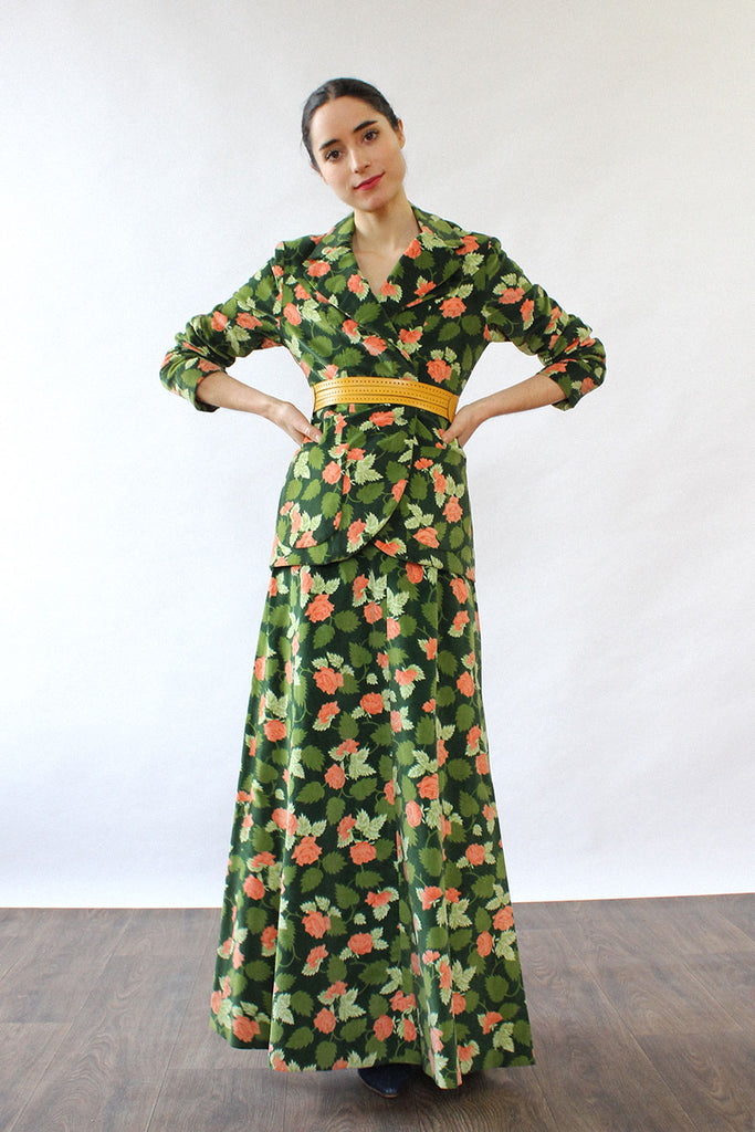 Green Velvet Peach Rose Set XS/S