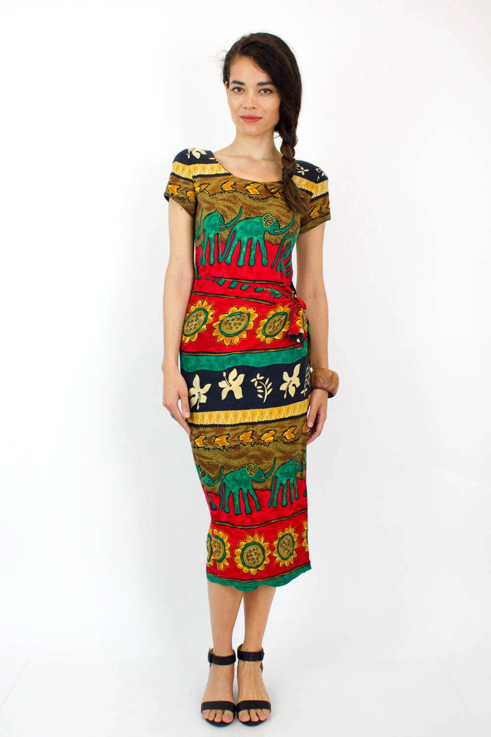 Sunflower & Elephant Wrap Dress S