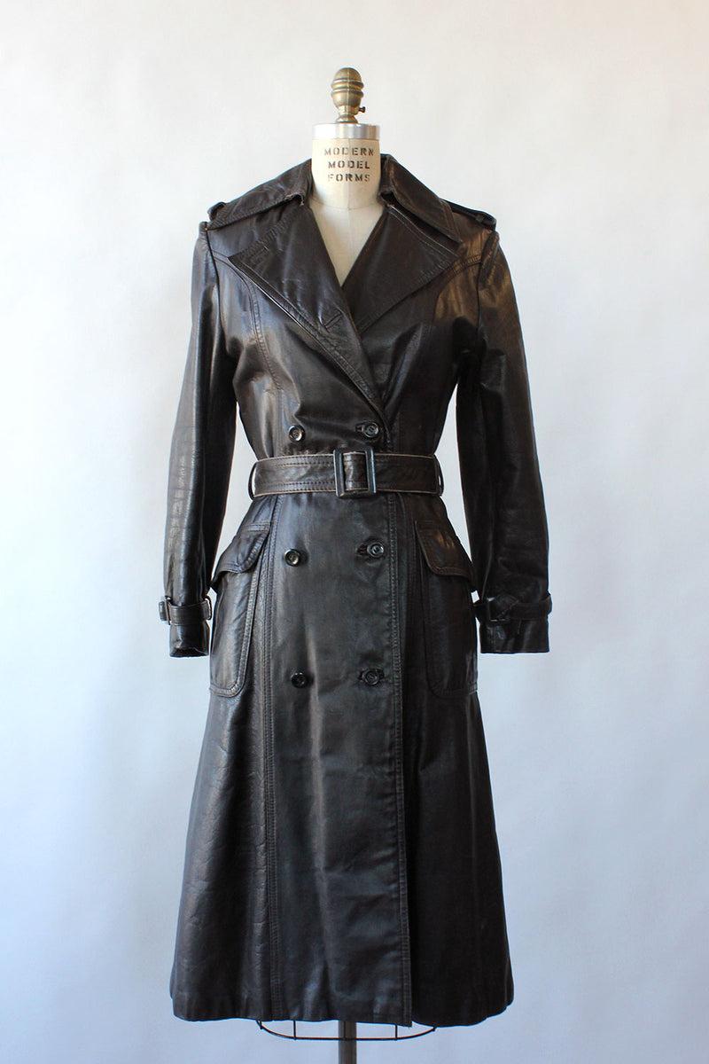 Espresso Brown Leather Trench S/M
