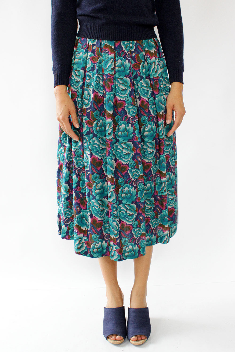 Oxford Moody Floral Midi Skirt M