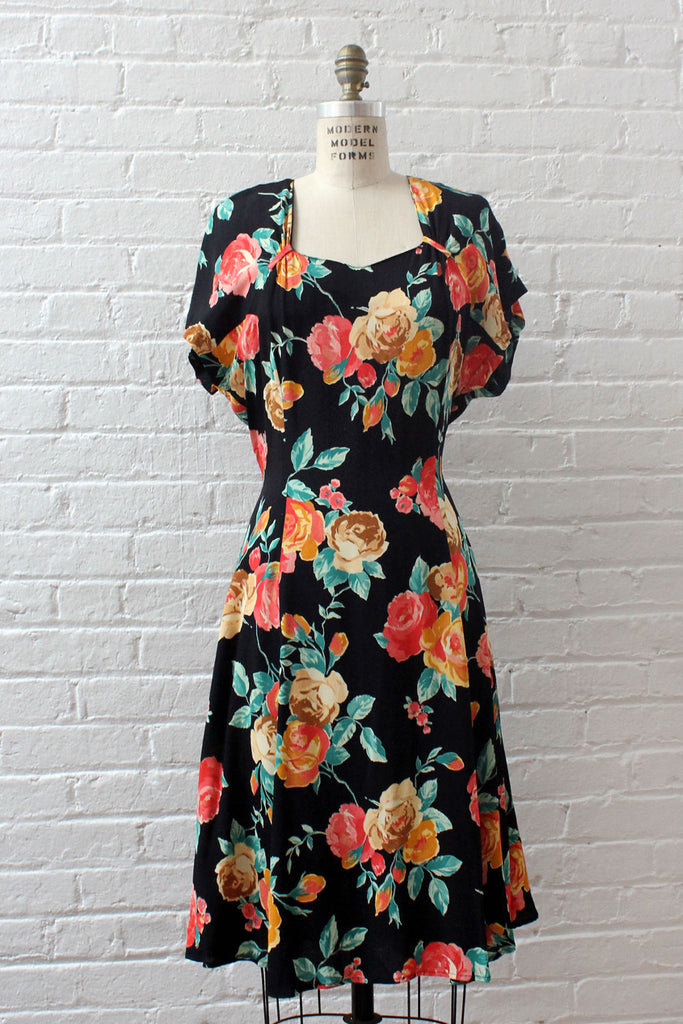 Painterly Floral Dress L