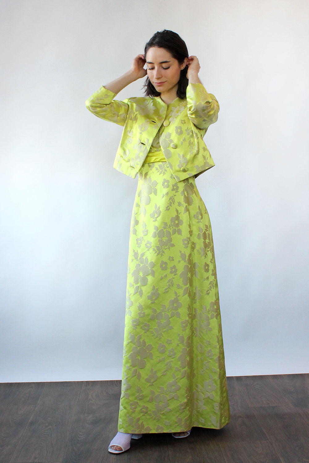 Chartreuse Silk Brocade Ensemble S-S/M