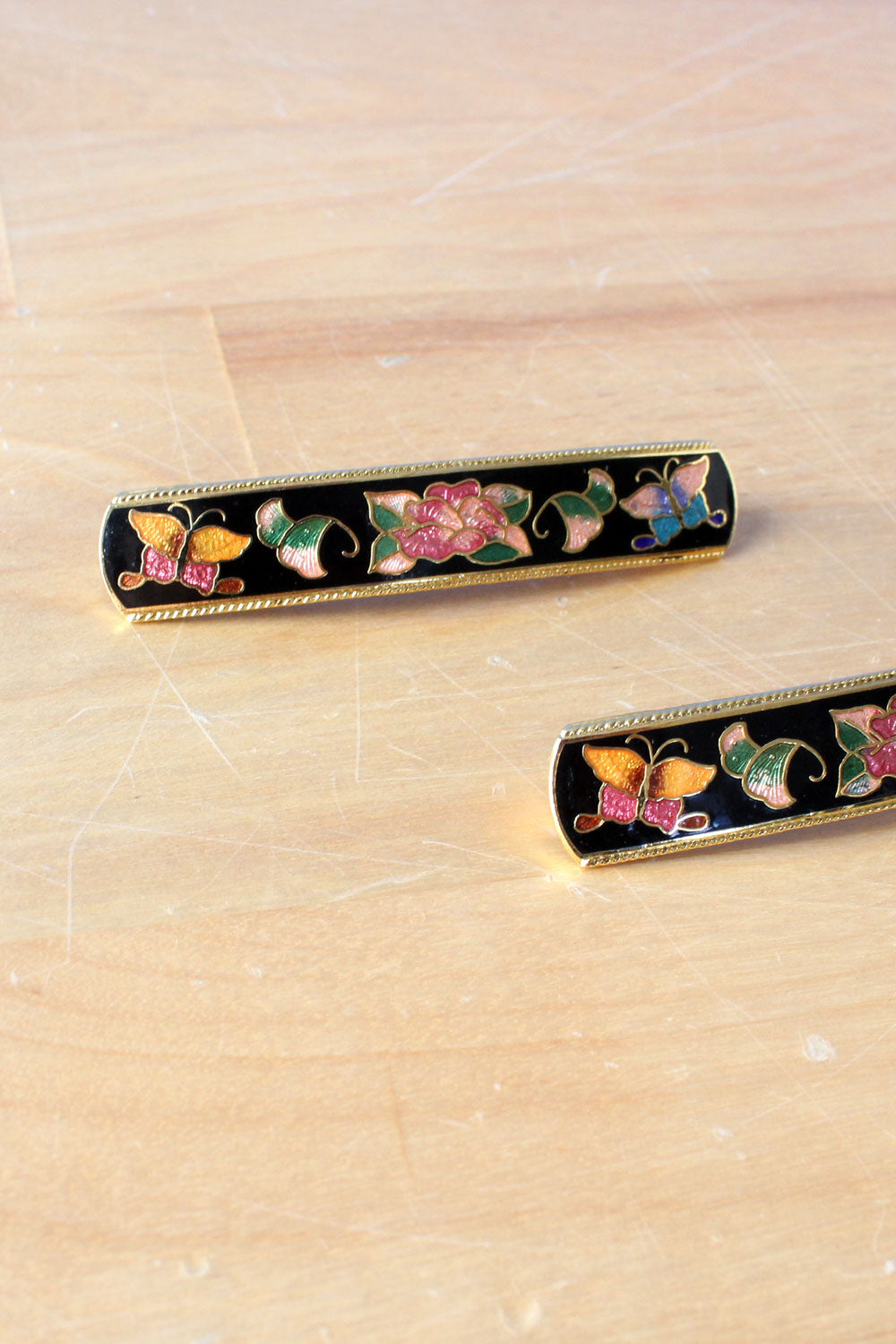 Pair of Cloisonne Barrettes