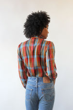 Laure Mae Rust Plaid Ruffle Blouse S