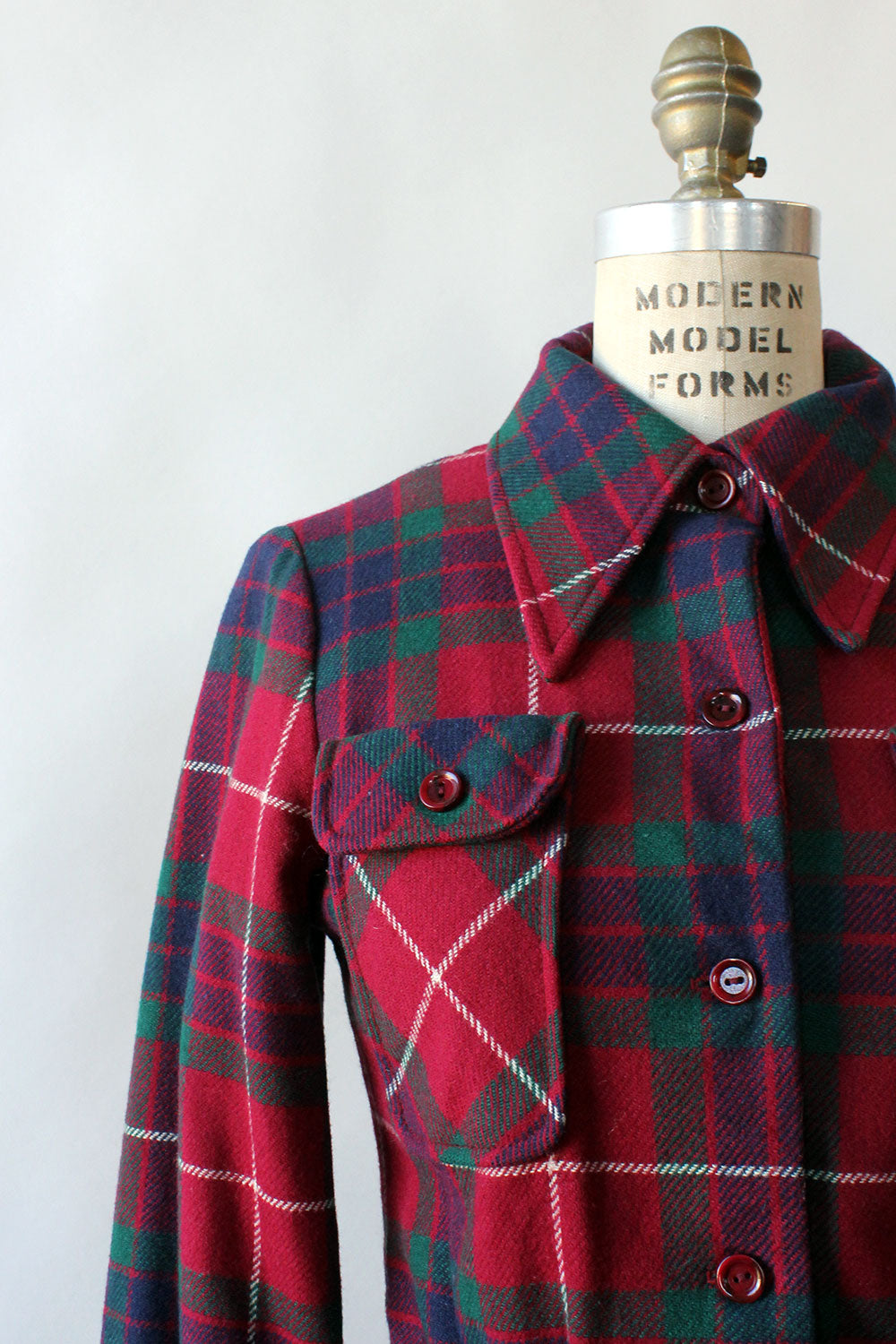 Magnin Wine Plaid Crop Jacket XS/S