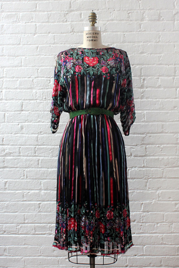 Silk Farm Chiffon Mix Print Dress S/M