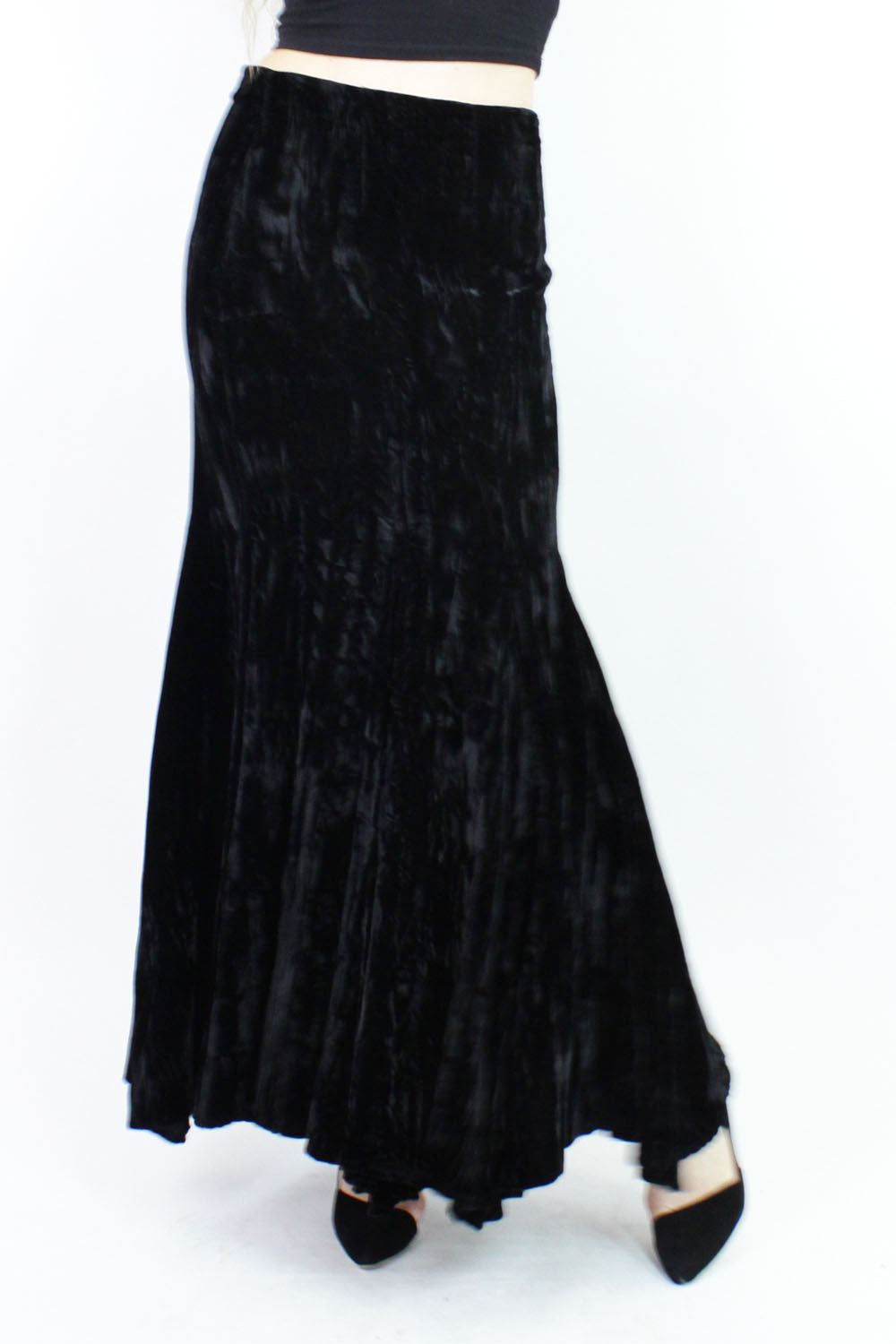Norma Kamali witchy velvet full circle sweep maxi skirt M
