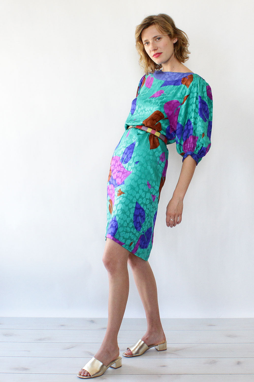 Silk Leaf Print Dress S/M
