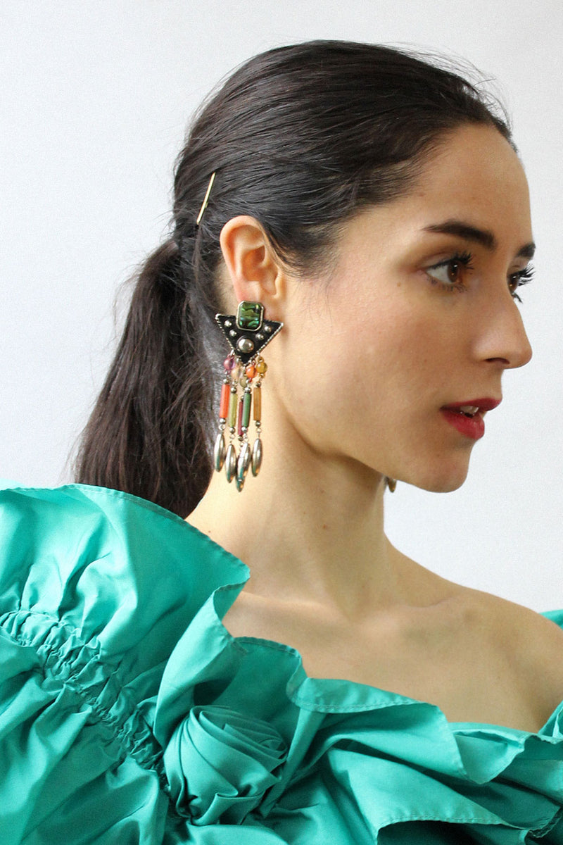 Gem Fringe Statement Earrings