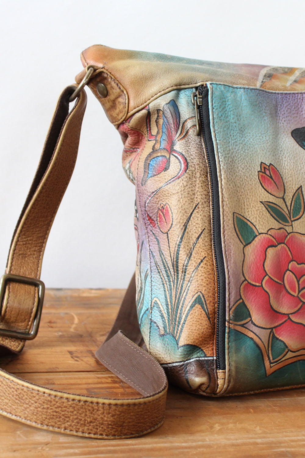 Handpainted Leather Butterfly Purse