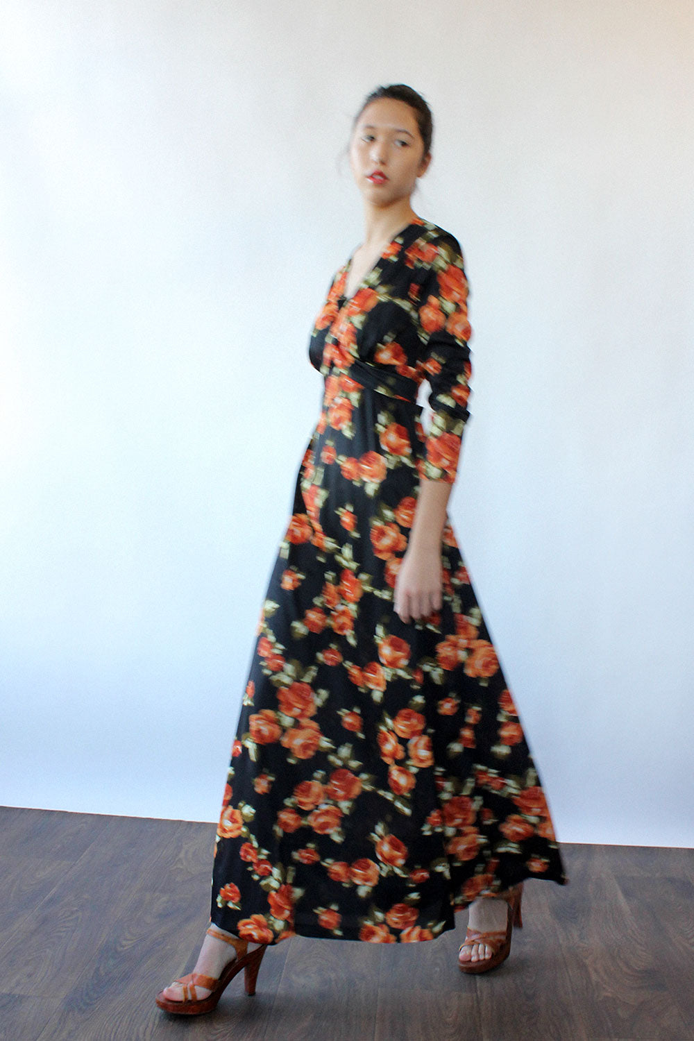Orange Rose Maxi Dress M/L
