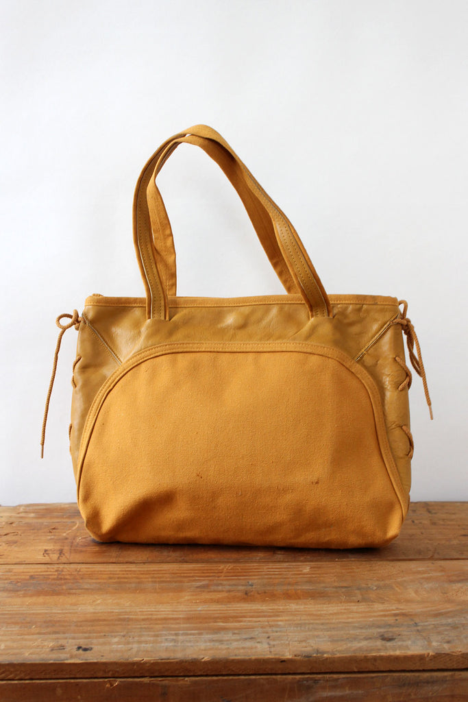 Mustard Leather Lace-up Canvas Tote