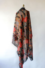 Midnight Floral Shawl Scarf