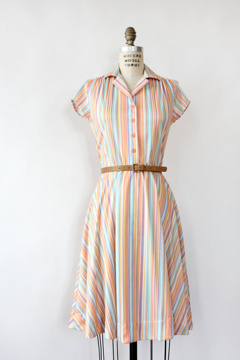 Melon Stripe Fit Flare Dress S/M