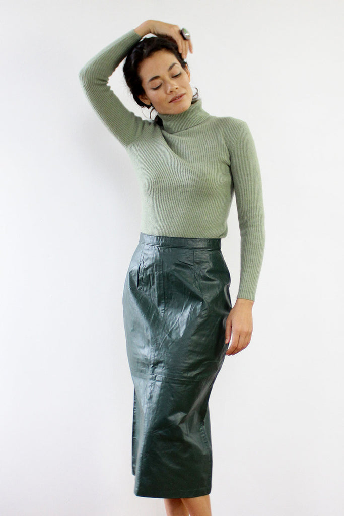 Hunter Green Leather Midi Skirt S