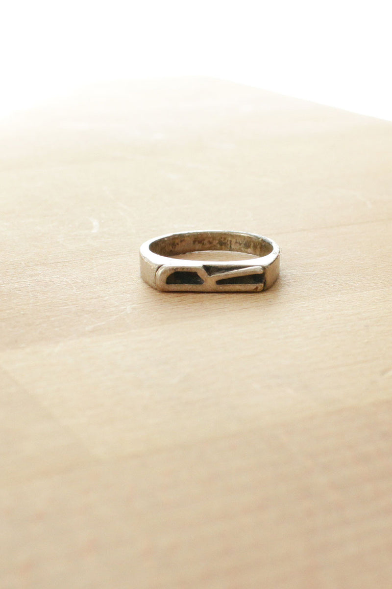 Sterling R Initial Ring