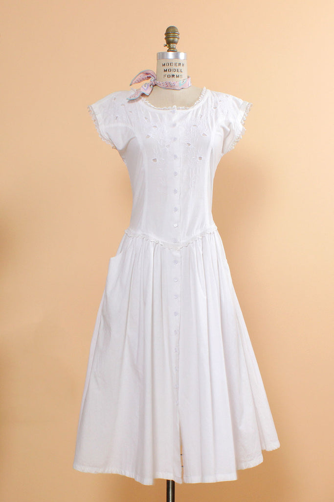 Starina White Cotton Dress M