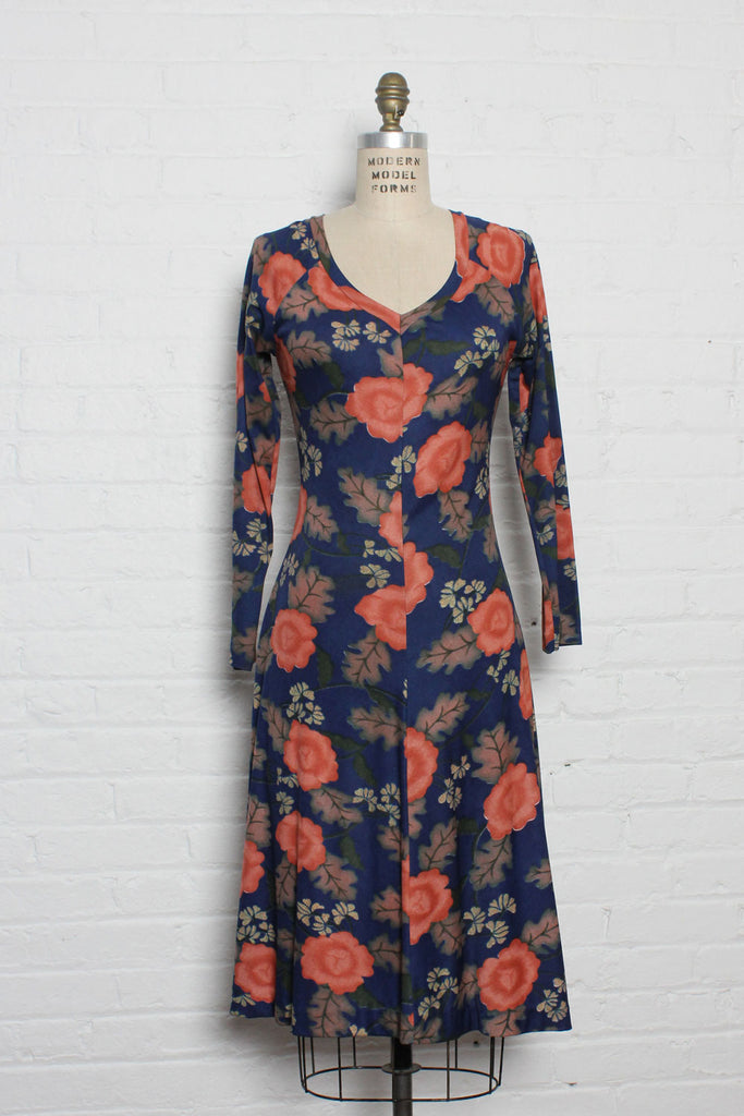 Hukapoo Persimmon Floral Dress M/L