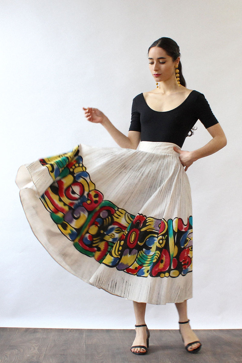 Artegreen Mexican Painted Circle Skirt S