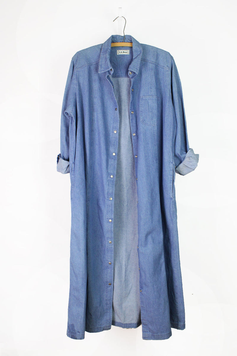 LL Bean Denim Duster Dress L