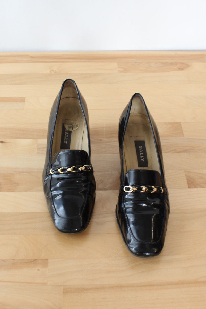 Bally Patent Block Heel Loafers 8-8.5M