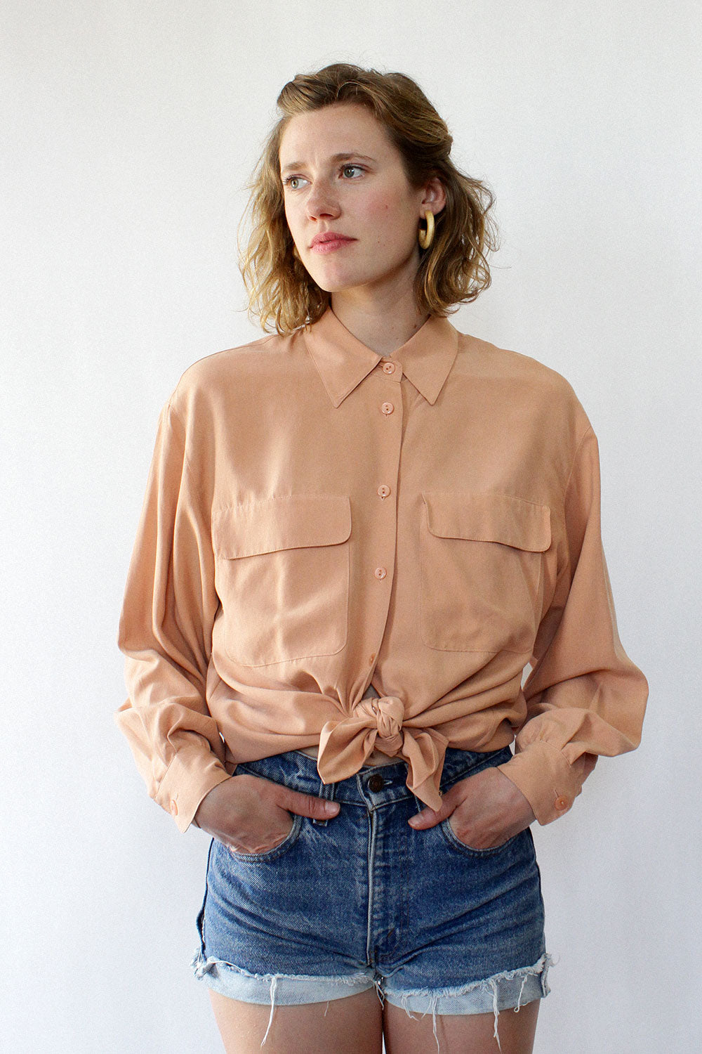 Rose Silk Buttondown M/L