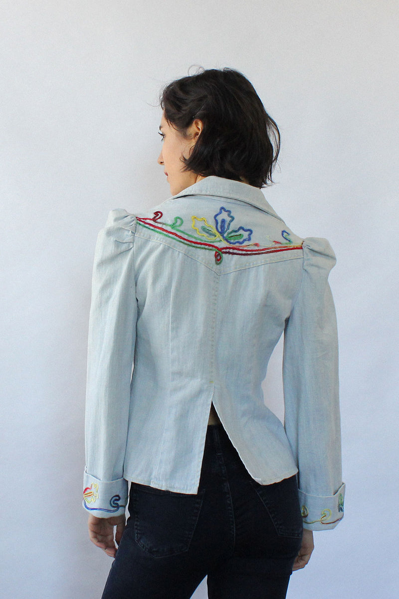 Sundial Embroidered Denim Top S