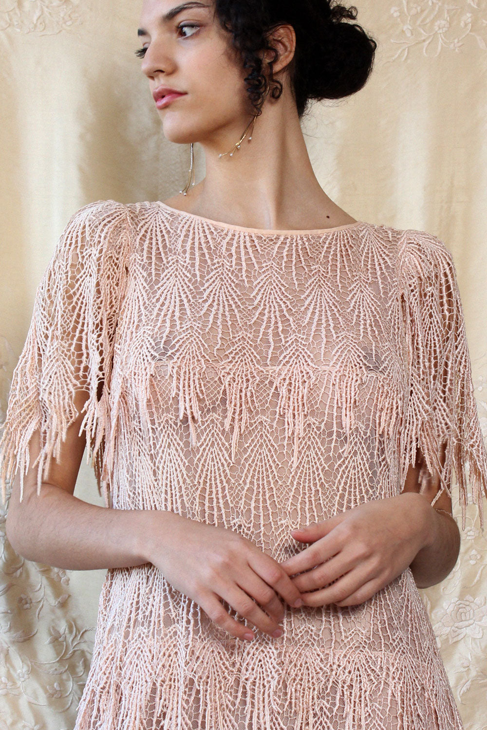Blush Flapper Fringe Dress S-L