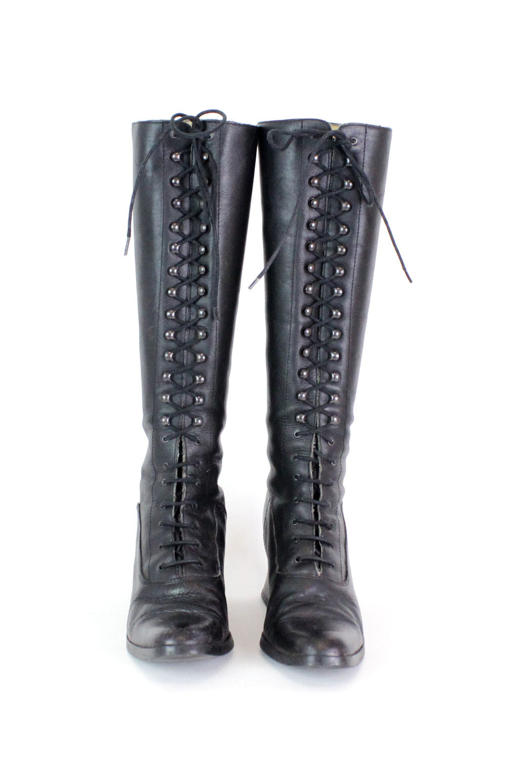 Black Lace-Up Boots 8.5