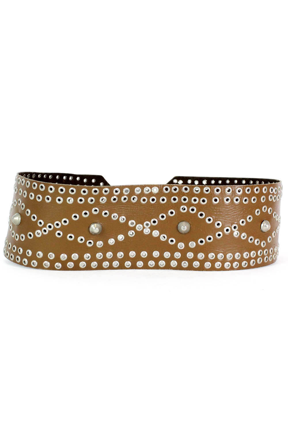 Wide Studded Leather Belt M/L