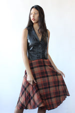 Rust Plaid Flare Skirt XS
