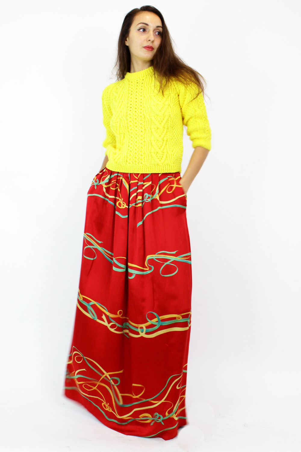 Silk ribbon maxi skirt S