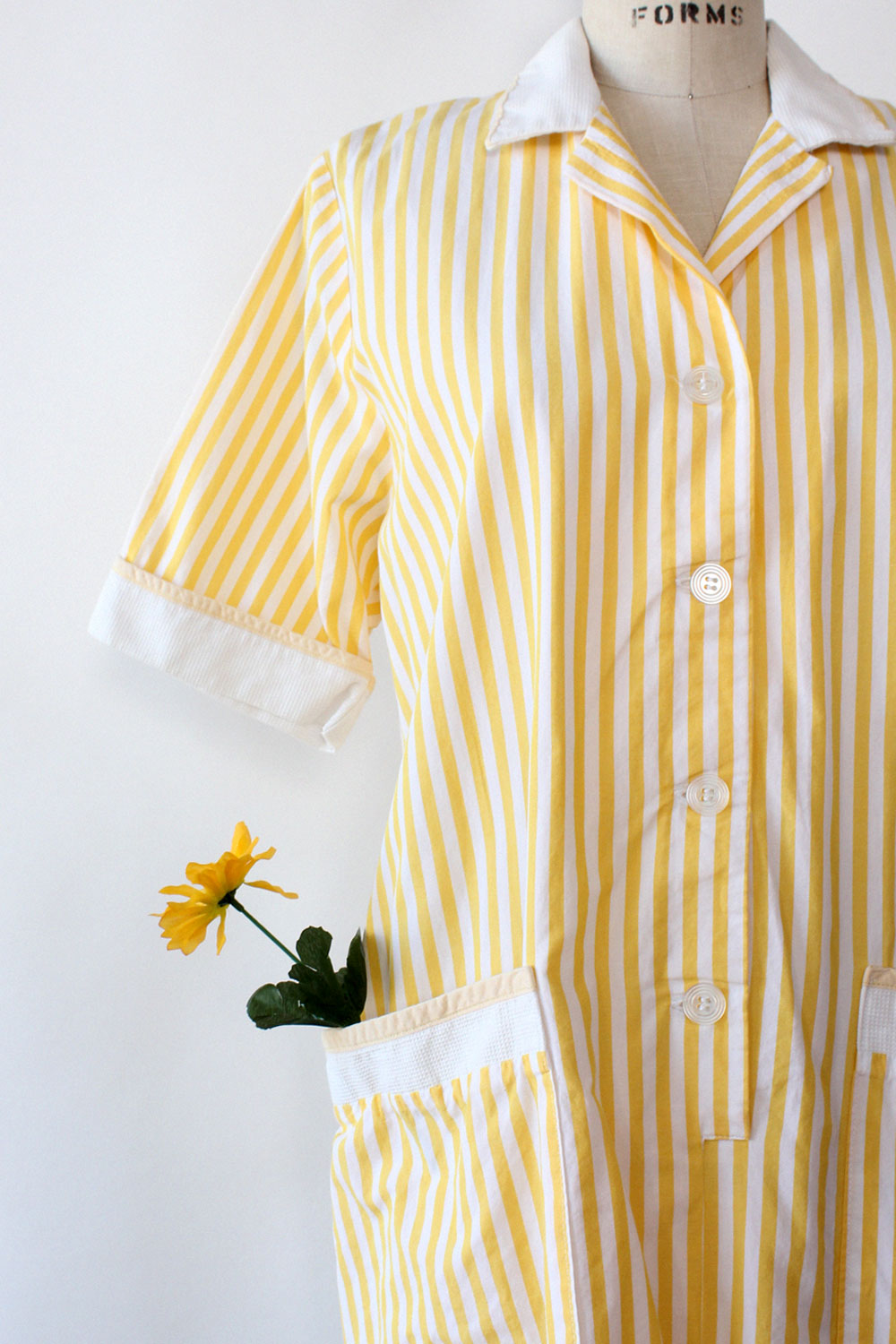 Lemon Stripe Pocket Dress M/L