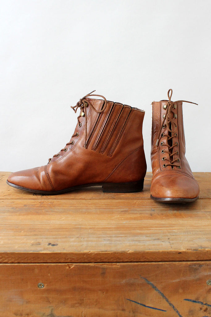 Chestnut Leather Lace-up Booties 7.5-8
