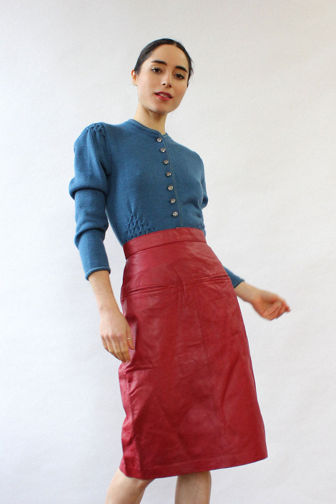 Avanti Crimson Leather Skirt XS